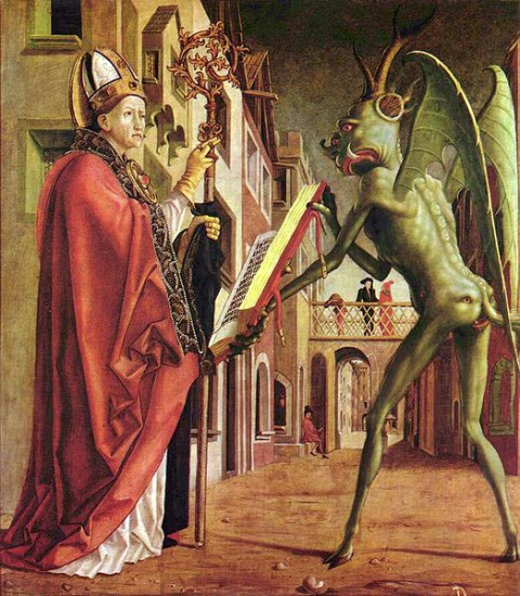 "Michael Pacher, ""The Devil and St. Jerome"""