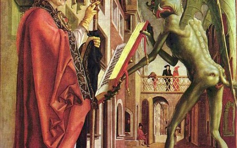 """Michael Pacher, """"The Devil and St. Jerome"""""""