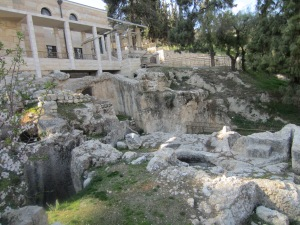 Behind the Church of St. Peter Gallicantu, ruins of ancient prison.